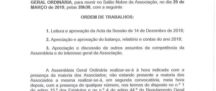 Convoatória A. G. Ordinária de 29.03.2019